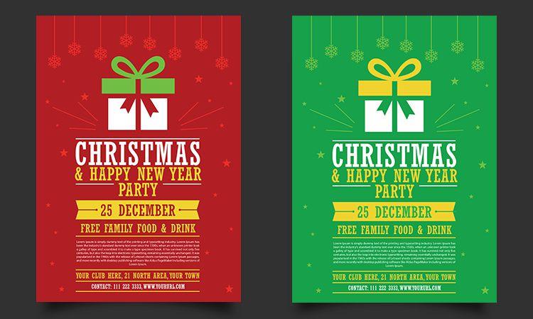 Plantilla de Flyer de fiesta de feliz año nuevo de Navidad gratis Vacaciones de maqueta gratis