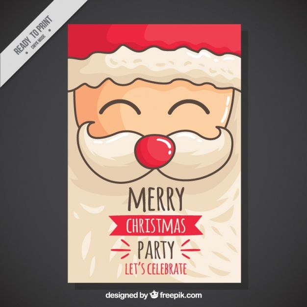 Christmas Party Invitation with Hand-drawn Santa Vector free holidays