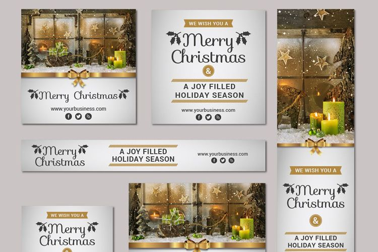 Huge Christmas New Year Vector Banner Kit free holidays