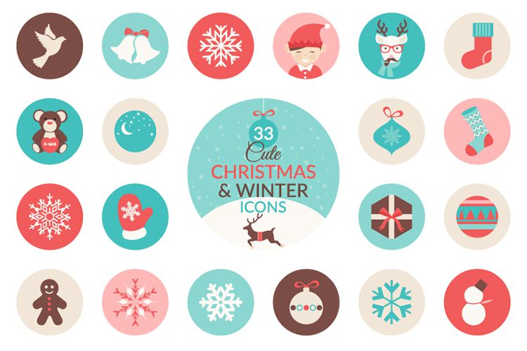 33 Christmas Winter Icon Set free holidays