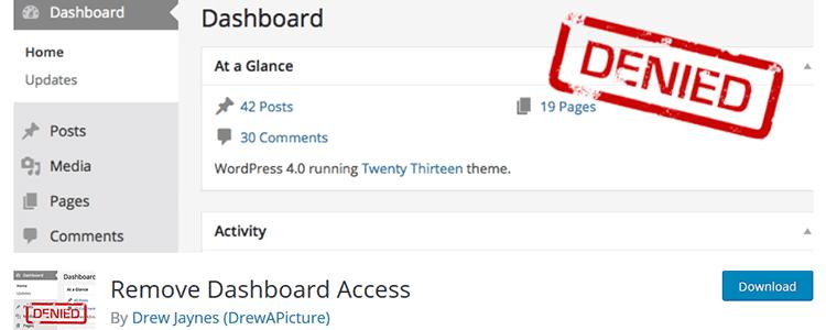 Remove Dashboard Access wordpreess plugin free