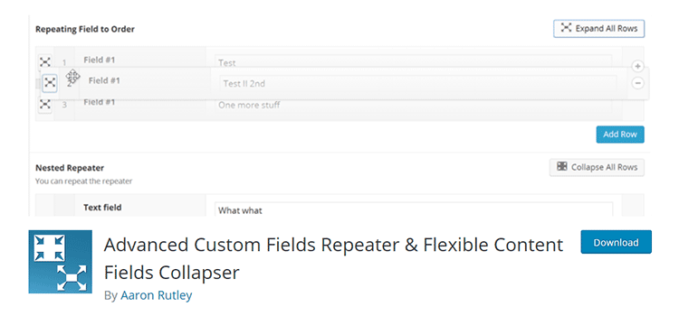 Advanced Custom Fields Repeater & Flexible Content Fields Collapser
