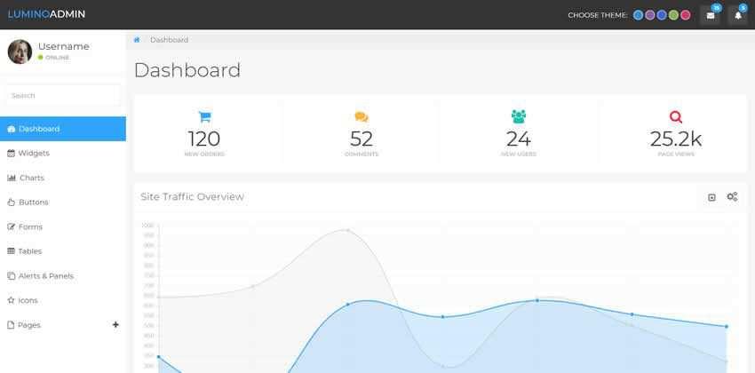 Templat Admin Bootstrap Gratis Lumino