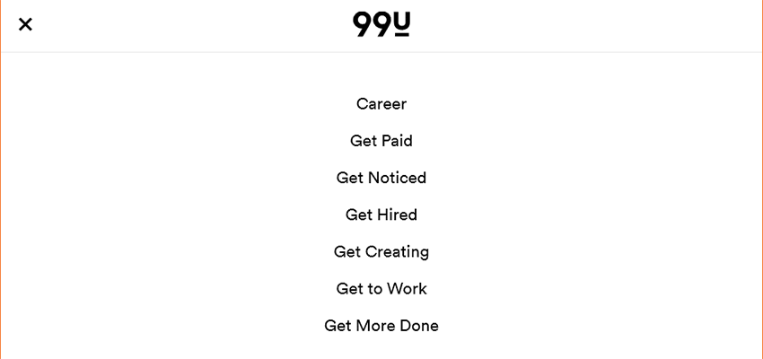 99u simplifies its mobile navigation.
