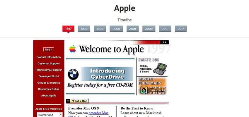 Apple home page, circa 1997
