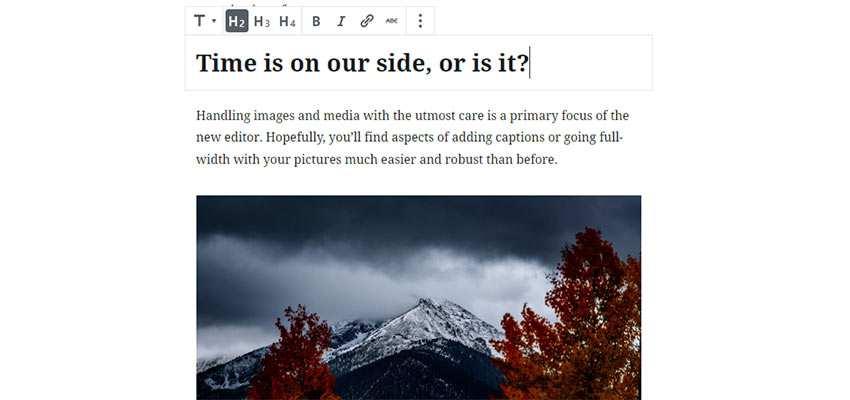 Editing a headline with Gutenberg.