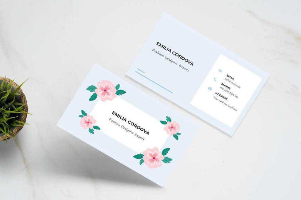 Floral business card template format Adobe illustrator