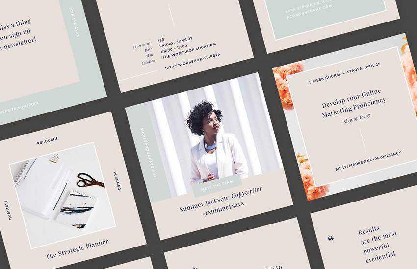 Hepburn instagram social media template pack format Adobe Photoshop