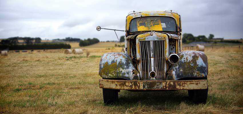 An old, broken down car.