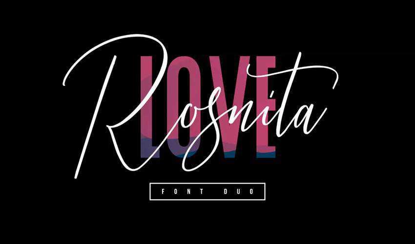free font calligraphy typography script Love Rosnita