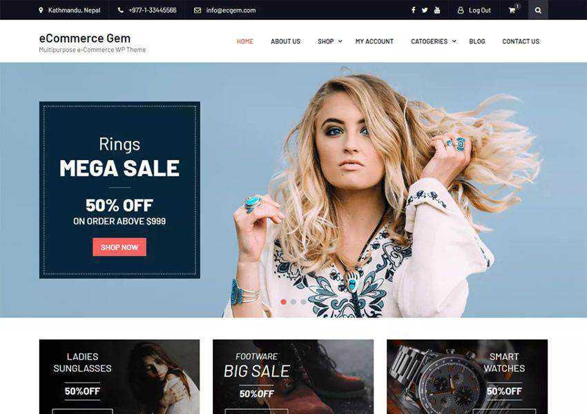Gem Multipurpose free wordpress theme wp responsive ecommerce shop woocommerce