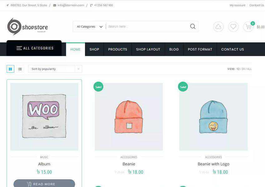 Shopstore Multipurpose free wordpress theme wp responsive ecommerce shop woocommerce