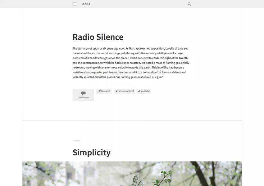isola free wordpress theme wp responsive template blog writer longform article