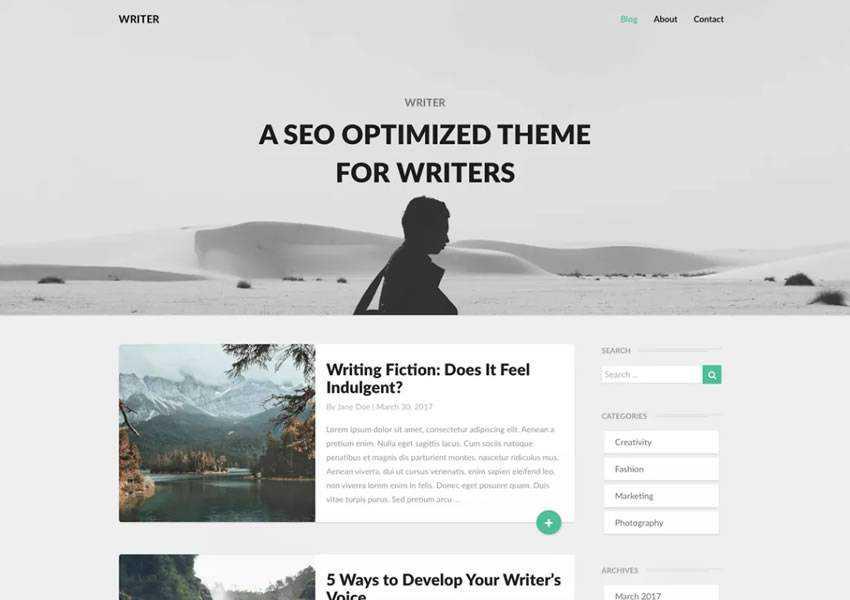 Writers Minimalistic Modern free wordpress theme wp responsive template blog writer longform article