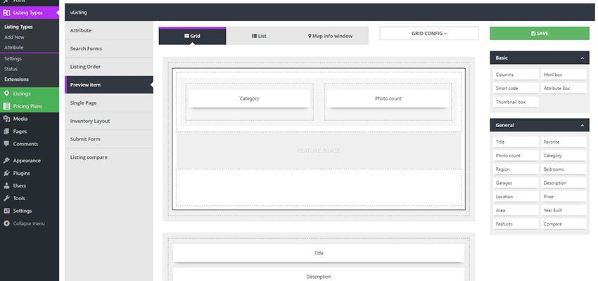 uListing layout builder screen.