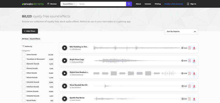 Envato Elements - Royalty Free Sound Effects