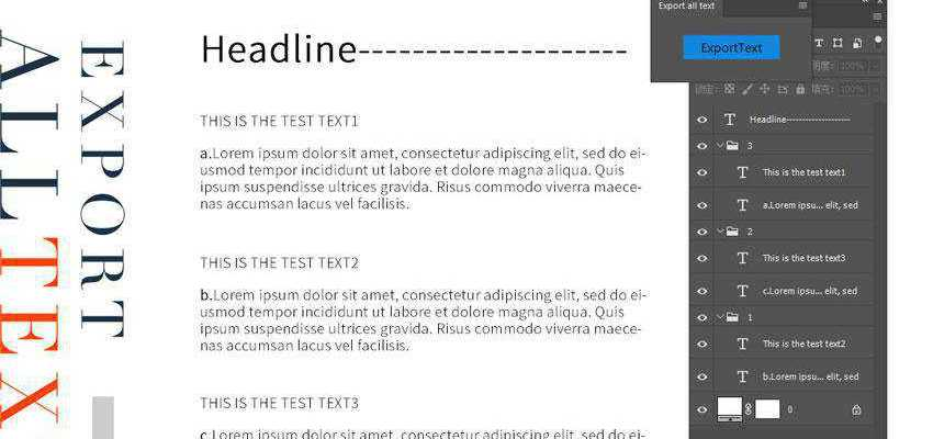 Export all Text for PSD Plugin Extension