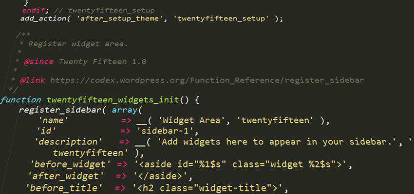 WordPress theme code.