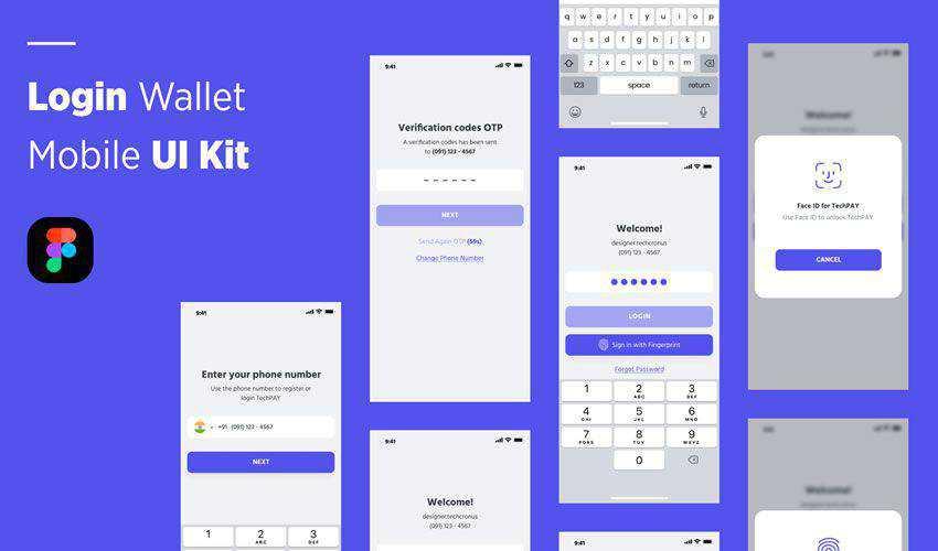 Login Wallet free figma ui mobile kit