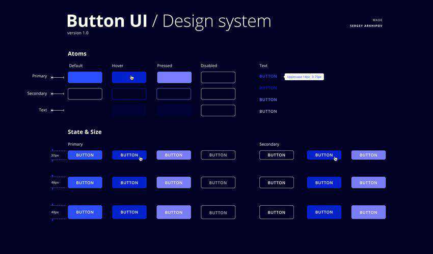 Button UI Design System free figma ui styleguide kit