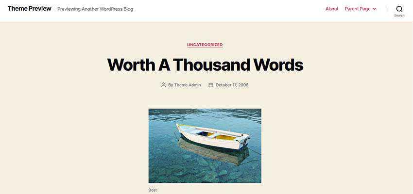 WordPress Twenty Twenty theme preview.