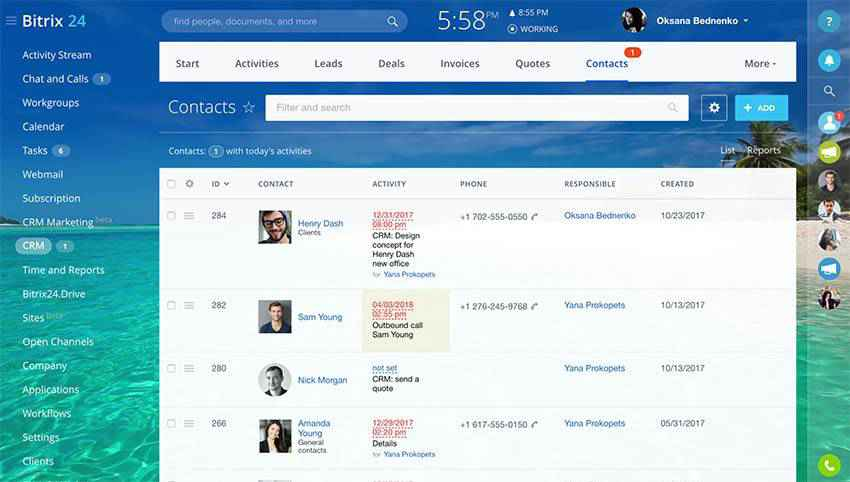 Bitrix24 CRM contacts screen.