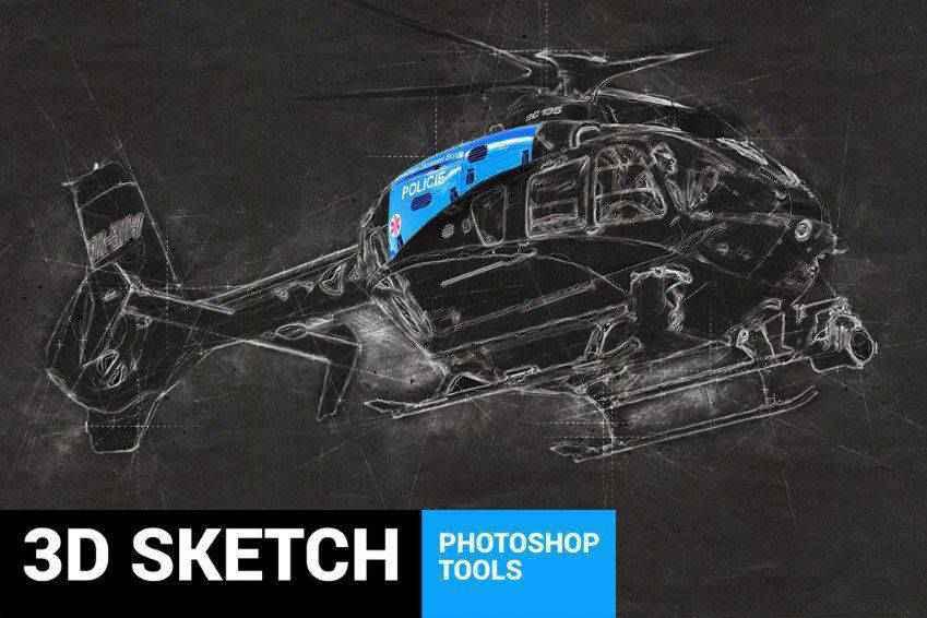 Conceptum 3D Sketch Photoshop Action