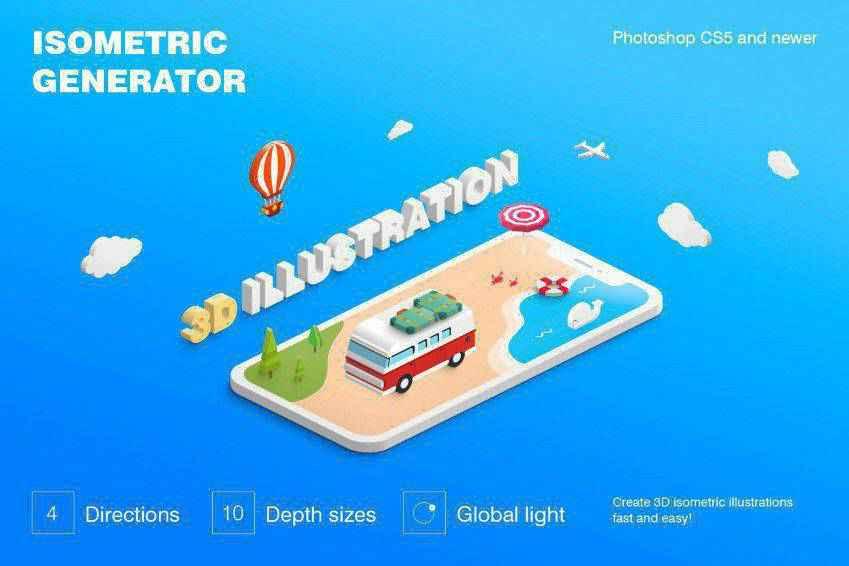 Isometric Illustration 3D Photoshop Generator