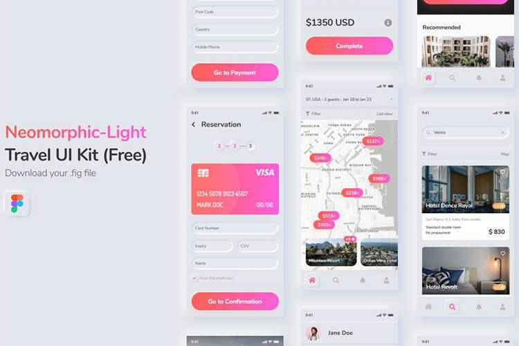 Example from Neomorphic Travel UI Kit Free