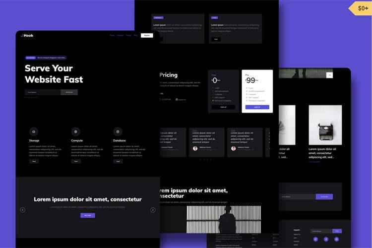 Example from Hook: Free Dark HTML Template
