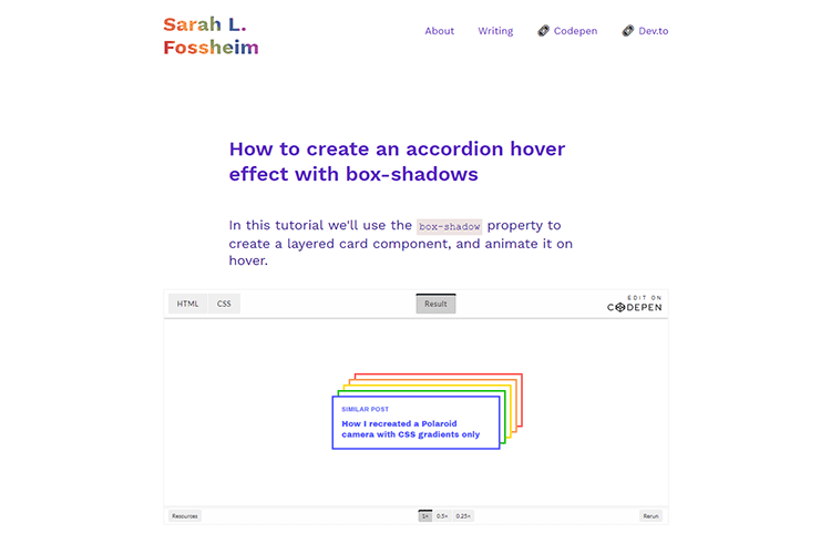 Example from How to create an accordion hover effect with box-shadows