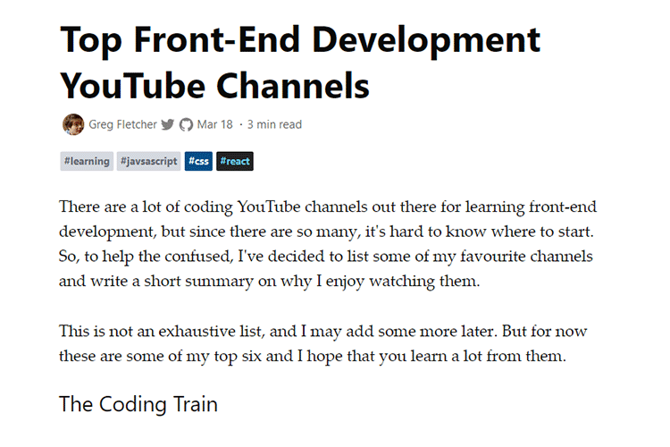 Example from Top Front-End Development YouTube Channels