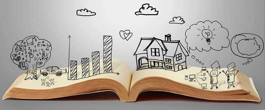 Open book illustration people clouds storytelling