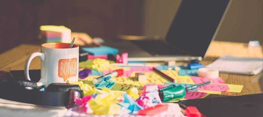 A messy desk.
