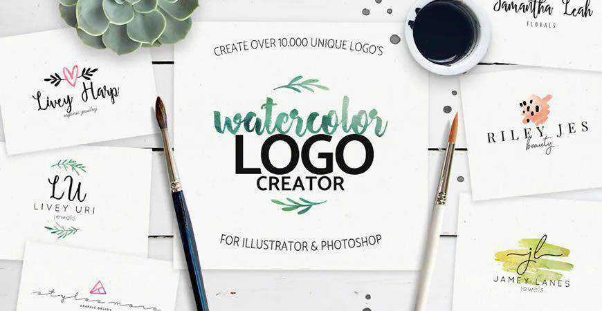 Watercolor logo creator kit template
