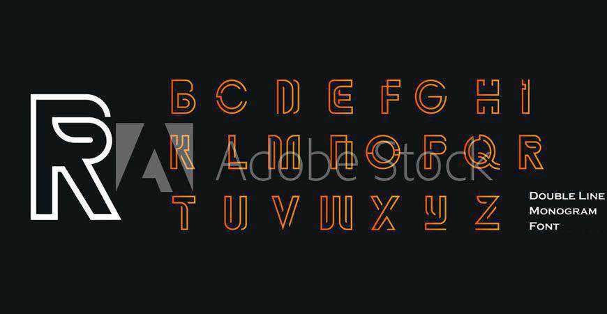 Double Line Monogram logo font typeface logotype