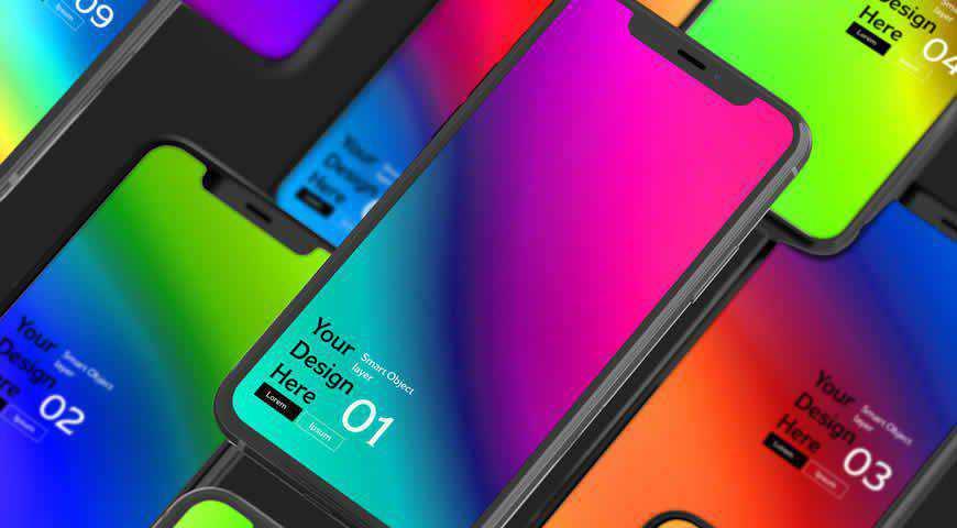 Mockup of Several Smartphones Photoshop PSD Mockup Template