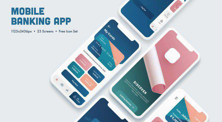 Pink and Blue Gradient Mobile UI Layout Photoshop PSD Mockup Template