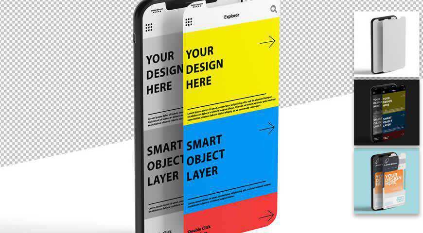 Smartphone Screen Design Photoshop PSD Mockup Template