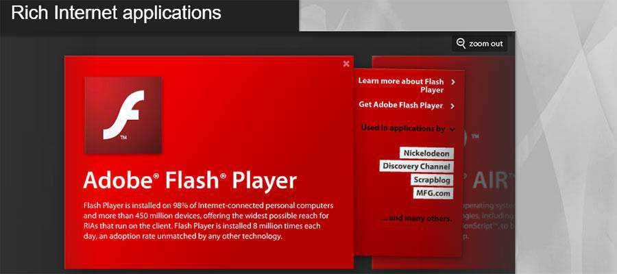 Adobe Flash Player banner.