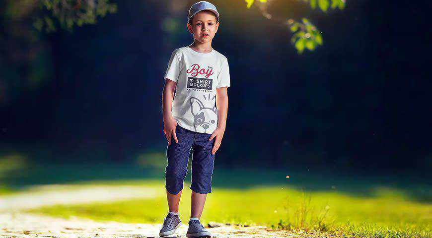 Boy T-Shirt Photoshop PSD Mockup Template