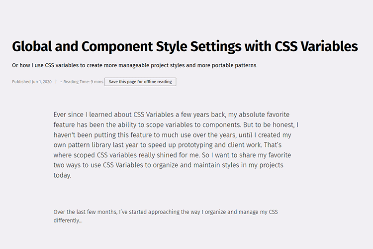 Example of Global and Component Style Settings with CSS Variables