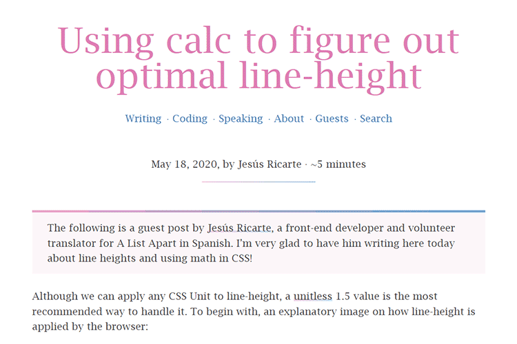 Example of Using calc to figure out optimal line-height