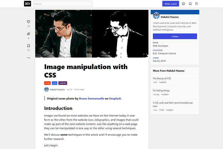 Example of Image manipulation with CSS