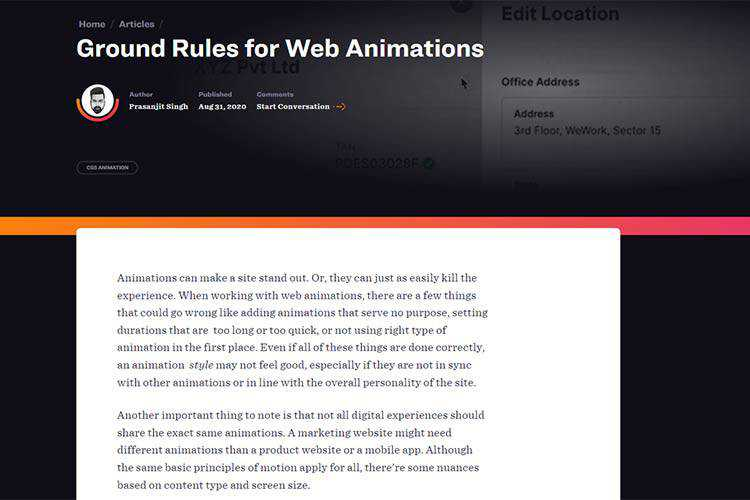 Example from Ground Rules for Web Animations