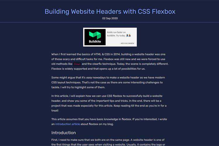 Example from Building Website Headers with CSS Flexbox