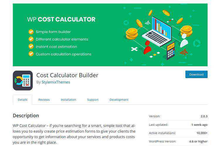Example from Cost Calculator Builder