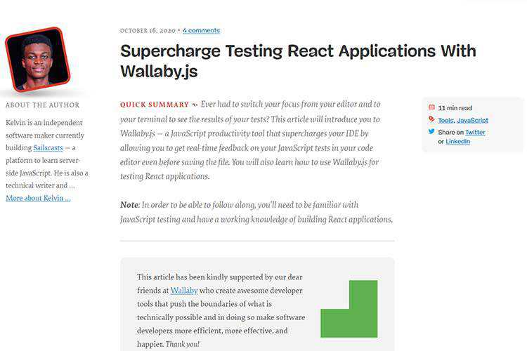 Example from Supercharge Testing React Applications With Wallaby.js
