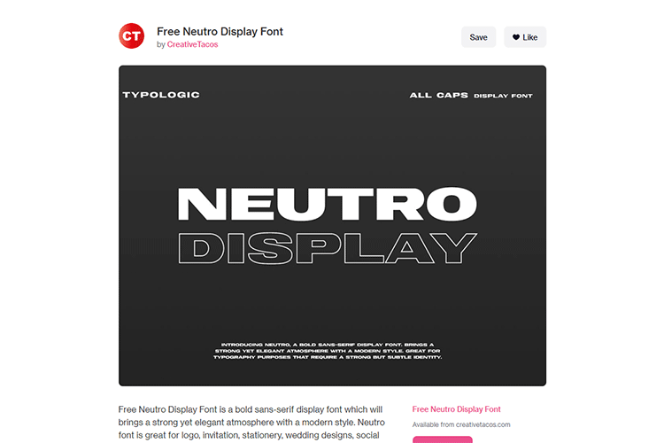 Example from Free Neutro Display Font