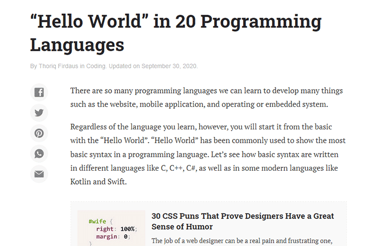 """Example from """"Hello World"""" in 20 Programming Languages"""
